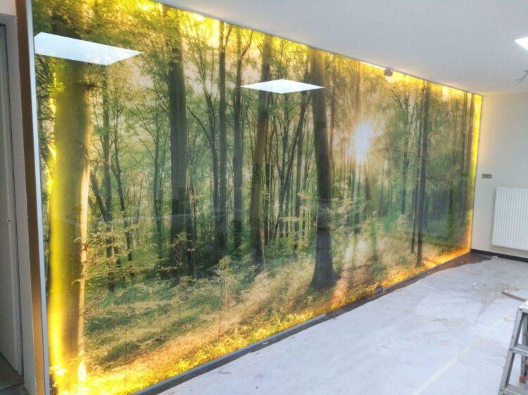 Recouvrement mural en verre Artlite Digital made in AGC Mirodan Industries, . -
